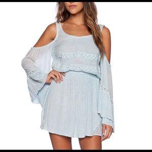 Bohemian dress in light blue linen